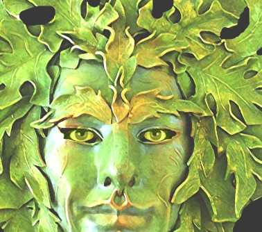 Greenman Mask with Eyes by Lauren Raine (1 May 2005) Shared under the Creative Commons Attribution-Share Alike 3.0 Unported license.   http://en.wikiquote.org/wiki/File:Greenman_mask_with_eyes.jpg#filelinks