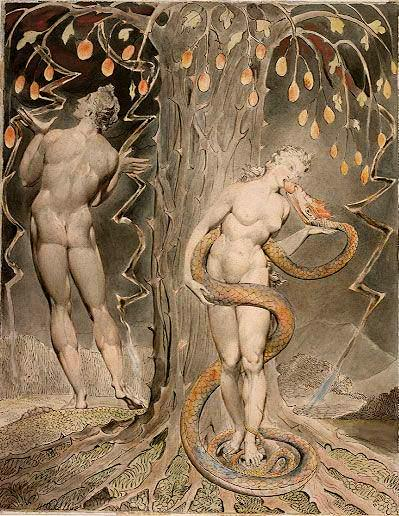 William Blake: The Temptation and Fall of Eve - illustration to Milton's 'Paradise Lost' (1808, pen and watercolour on paper)Category:William Blake